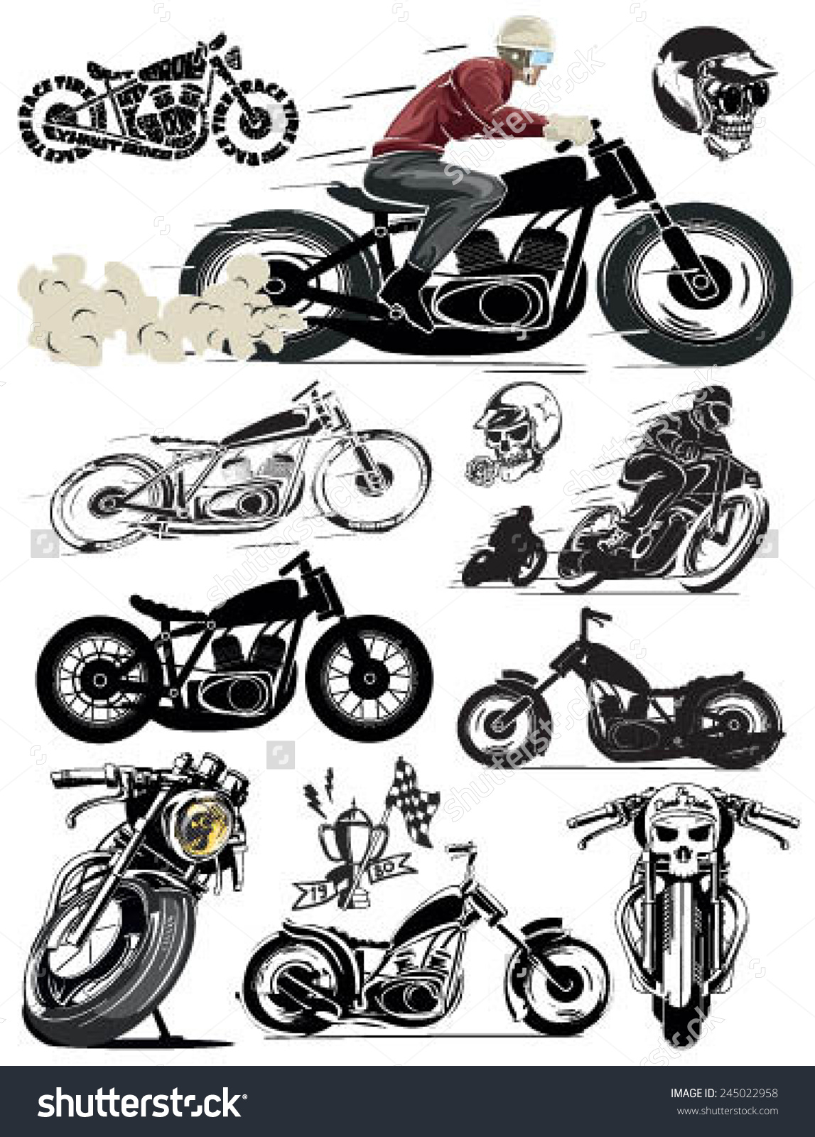 Historic motorcycle clipart #12