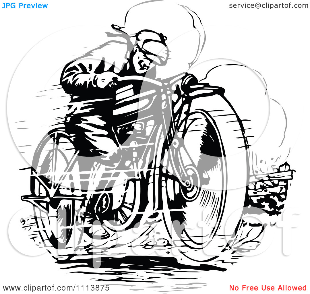Clipart Vintage Black And White Man Racing A Motorcycle.