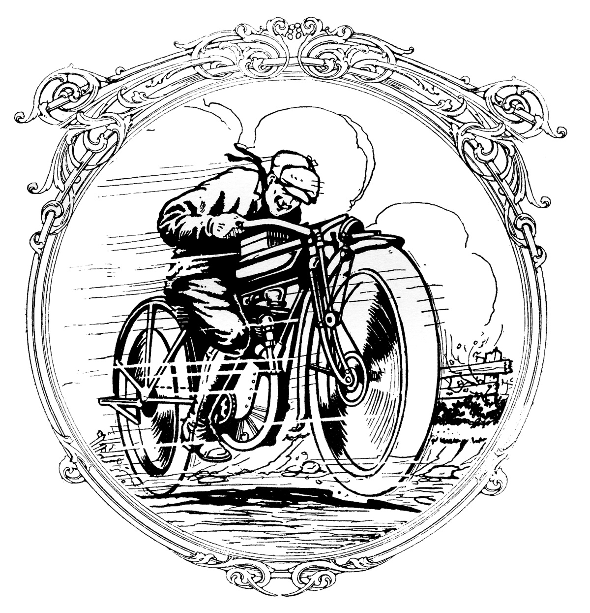 Historic motorcycle clipart #11