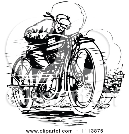 Clipart Retro Black And White Woman Racing A Motorcycle.