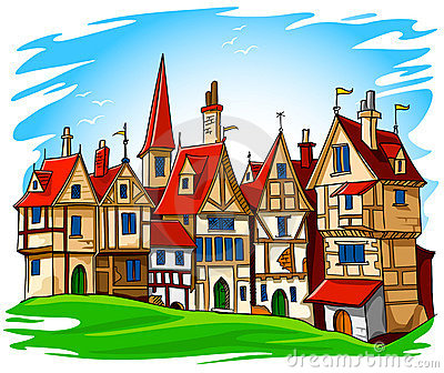 Old Town Illustration Stock Image.