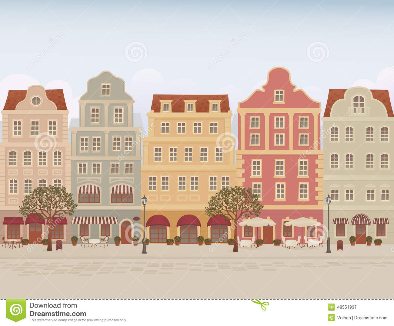 Old Town Street Stock Vector.