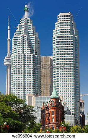 Stock Photo of Downtown Toronto financial skyscrapers and CN tower.
