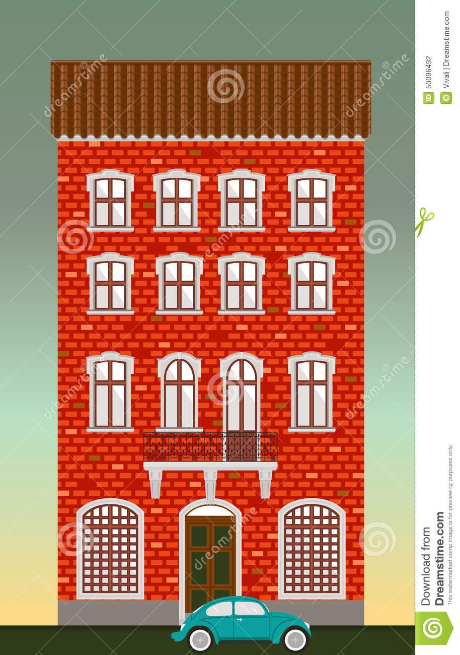 Brick historic house clipart.