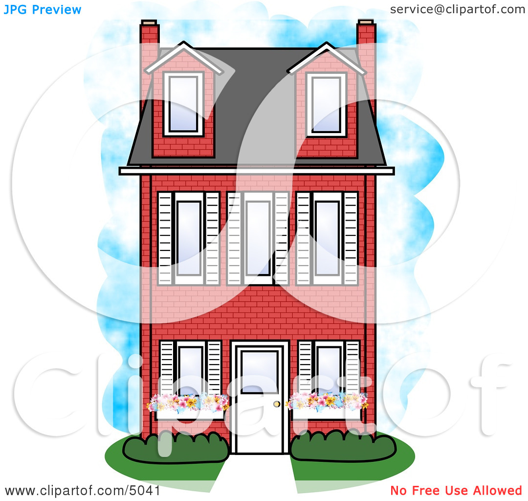 Large Three Story Red Brick House Clipart by Dennis Cox #5041.