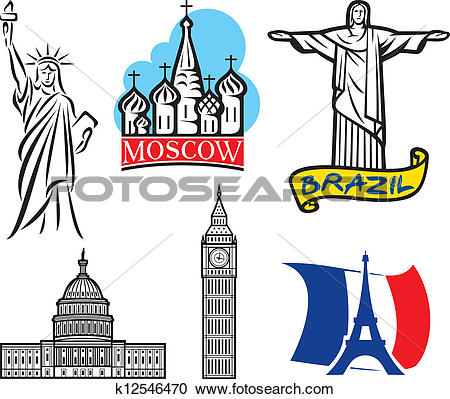 Clipart of international historical monuments k12546470.