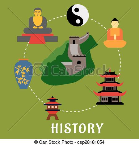 Clipart Vector of Chinese historical flat landmarks and religion.