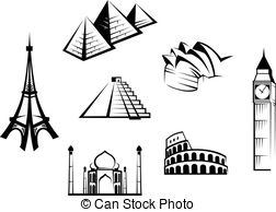 Vectors Illustration of international historical monuments.