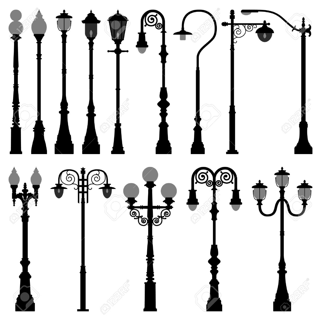 Lamp Post Lamppost Street Road Light Royalty Free Cliparts.