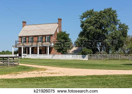 Stock Image of Clover Hill Tavern at Appomattox National Park.