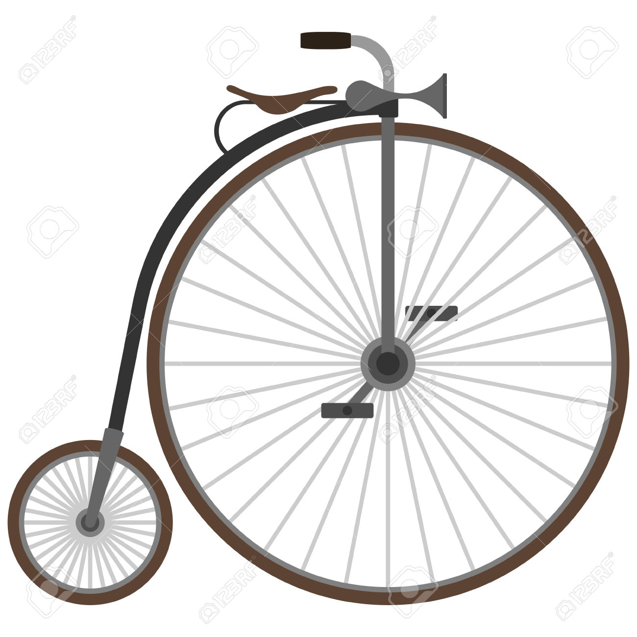 Historic Vehicle. Old Bicycle. The Illustration On A White.