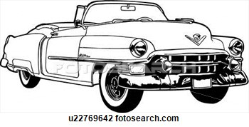 Vector classic car clipart black and white.
