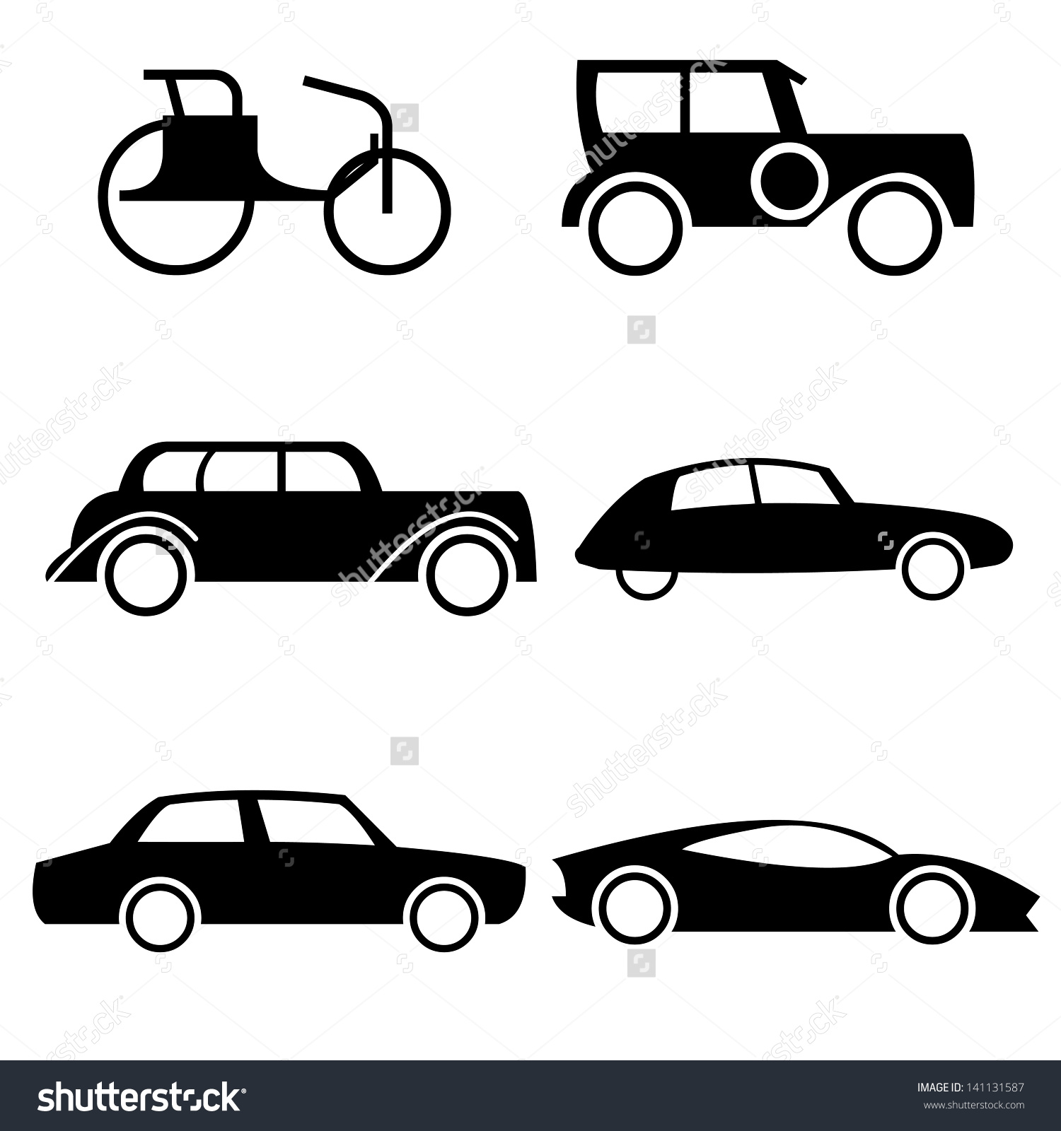 Icon Set Representing Evolution Cars Through Stock Vector.