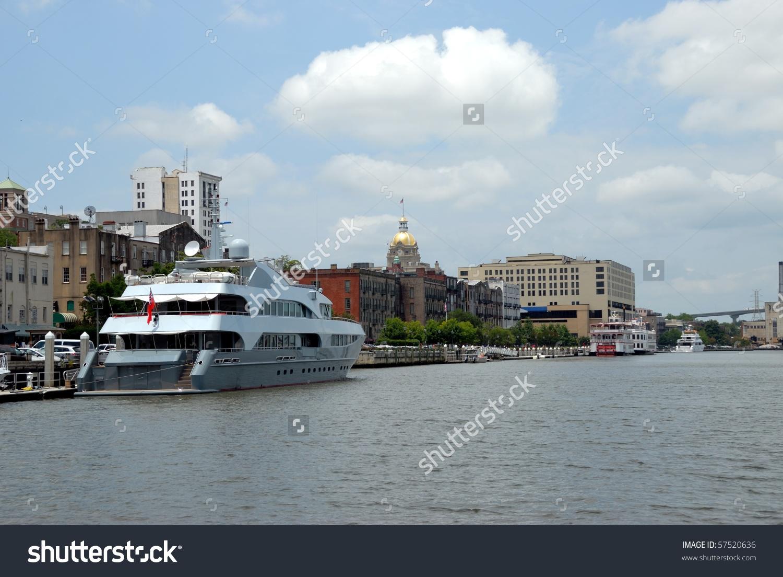 Luxury Yacht Docked Along Historic Savannah River Georgia Stock.