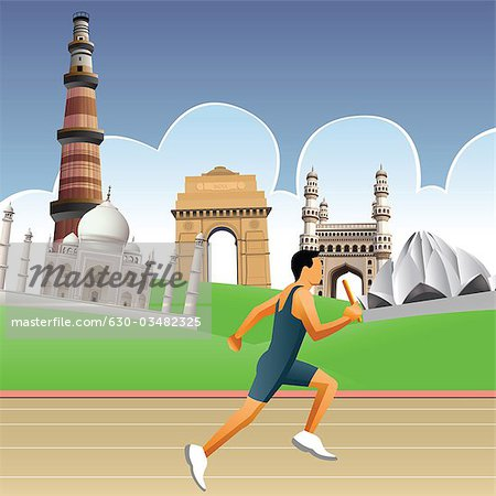 Man running on a racing track with historical buildings in the.