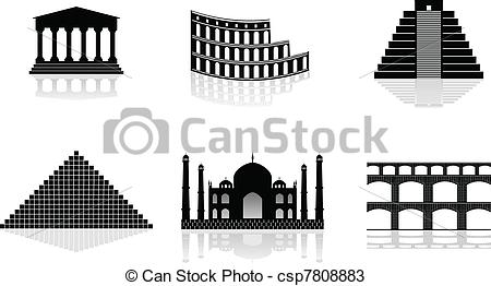 Vectors of historical monuments vector illustrations csp7808883.
