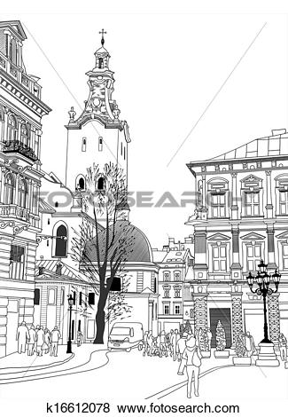Clip Art of sketch vector illustration of Lviv historical building.