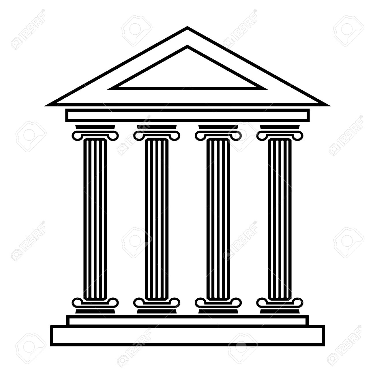 Historical Building Line Icon. Vector Illustration On White.