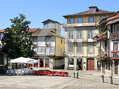 Santiago Square In The Historic Centre Of Guimaraes, Portugal.