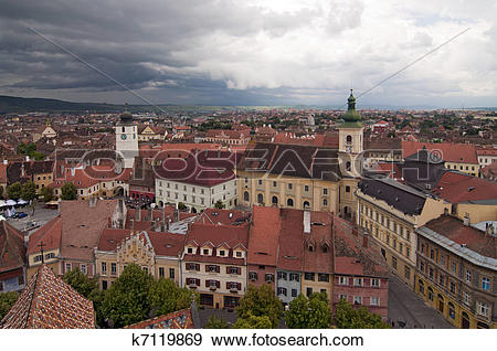 Stock Photograph of Dramatic skies over historical center of Sibiu.
