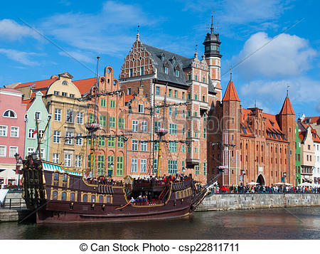 Stock Photography of Old ship on Motlawa river in Gdansk.