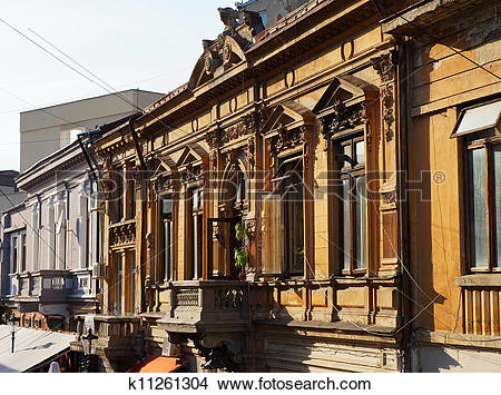 Stock Photo of Foreshortening view of buildings in the historical.