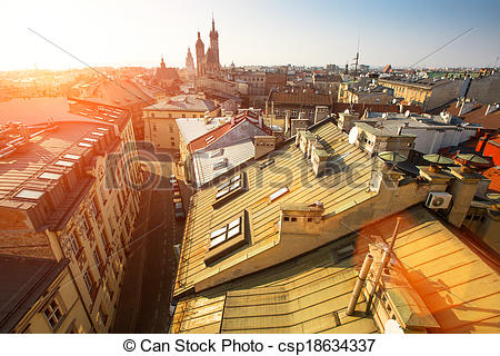 Stock Photos of Top view of the historical centre of Krakow.