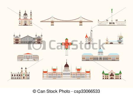 Vectors of Budapest historical building.