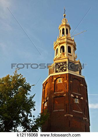 Pictures of Ancient tower with clock in the historical city center.