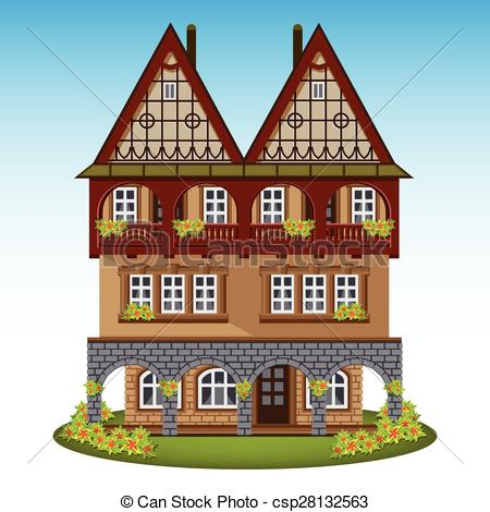 Clip Art Vector of Old style house of historical city center.