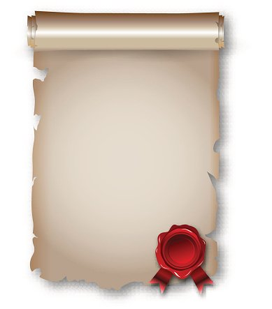Antique historical paper scroll document Clipart Image.