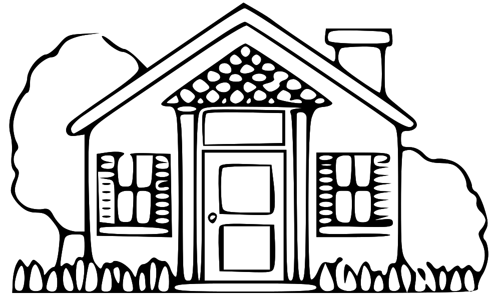 Free clipart printable black and white vintage historical houses.