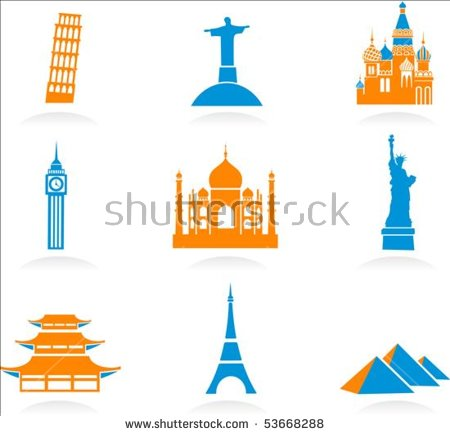 Icon Set Famous International Historical Landmark Stock Vector.