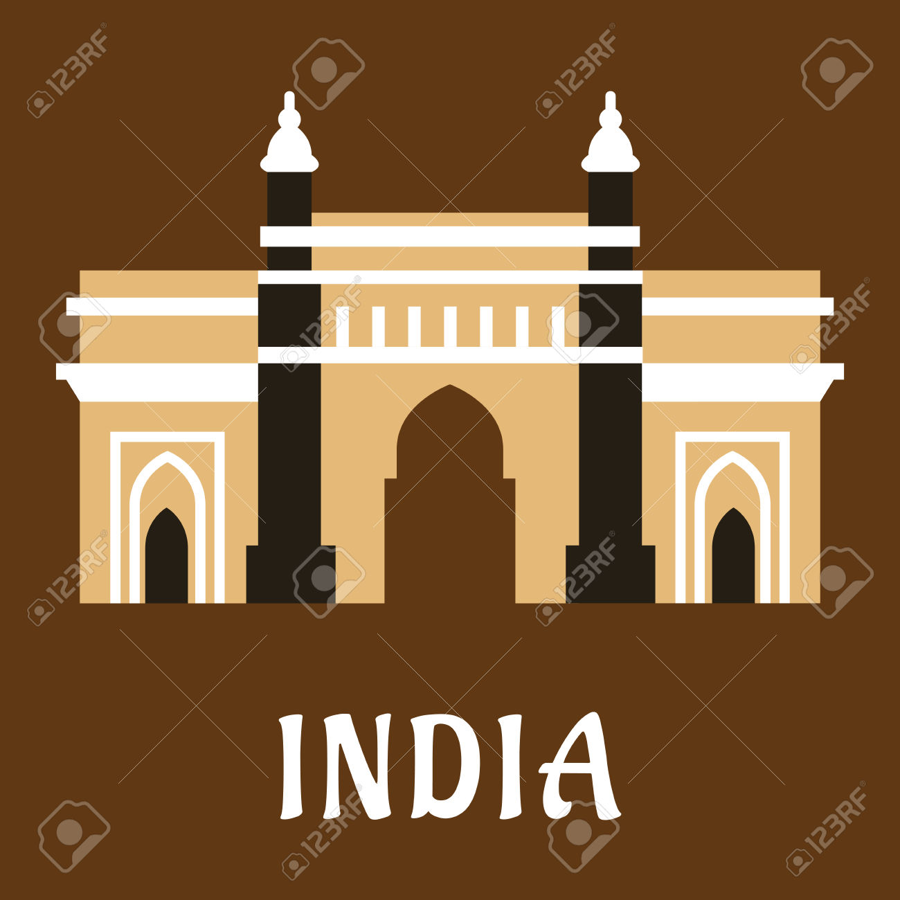 Indian Architectural And Historical Landmark Flat Icon Of Ancient.