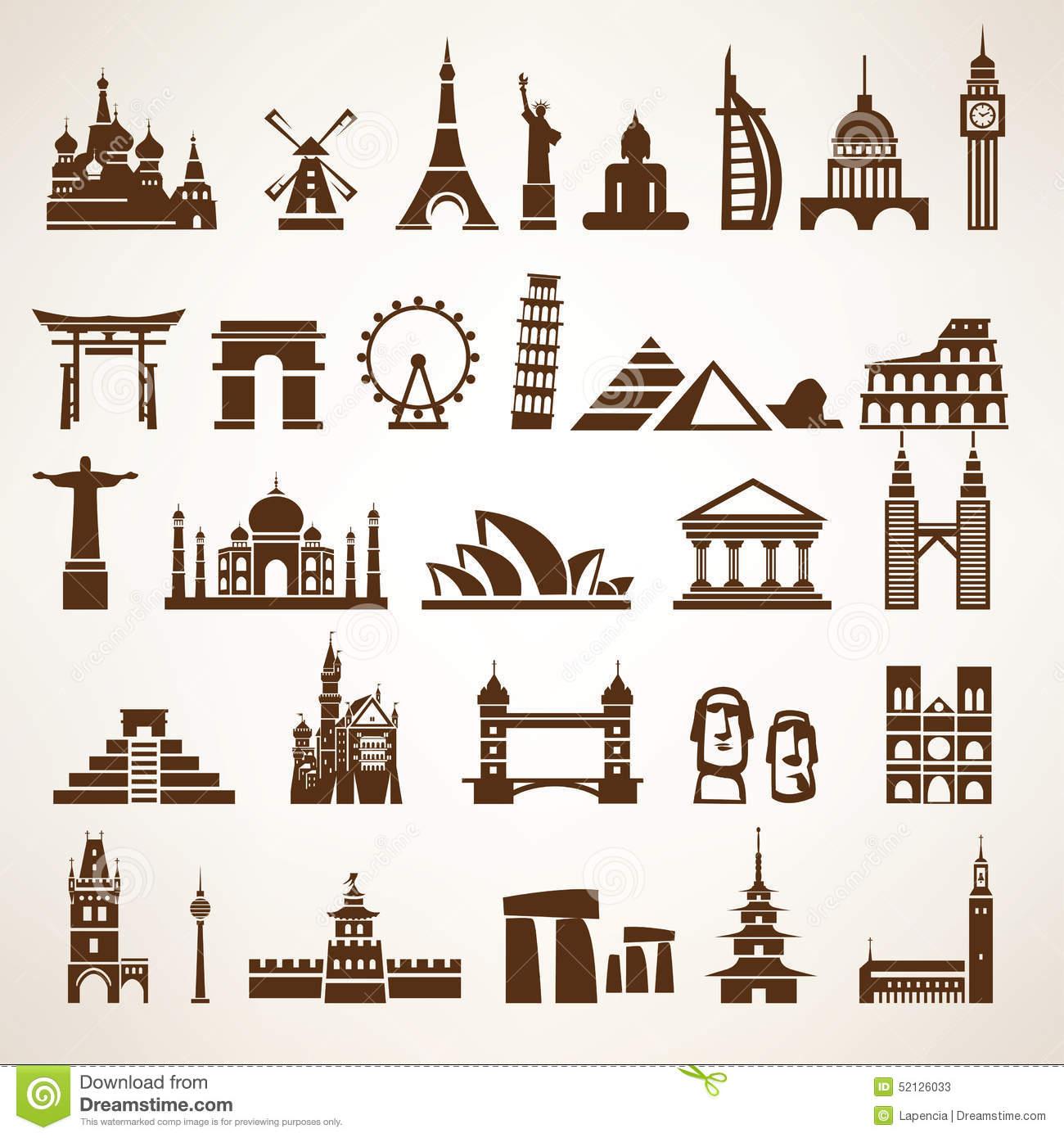 Big Set Of World Landmarks And Historic Buildings Stock Vector.