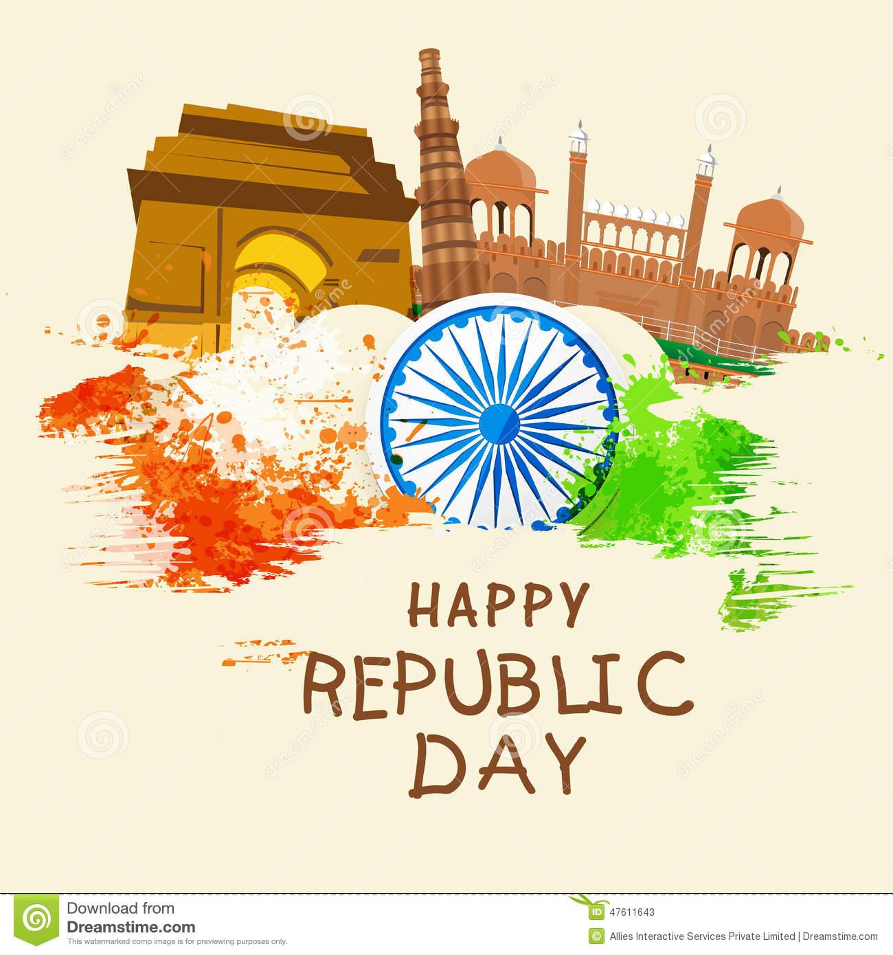 Indian Republic Day Celebration With Famous Monuments And Ashoka.