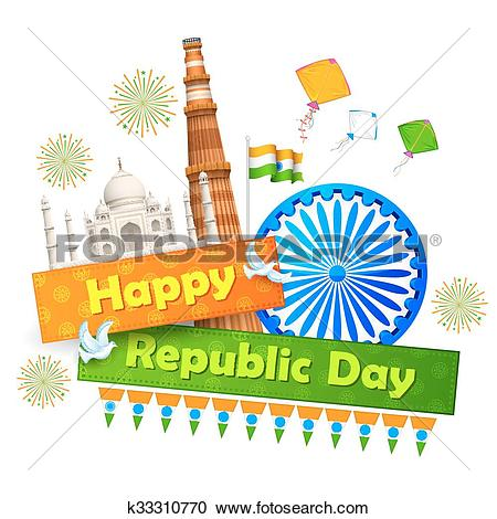 Clipart of Indian background with historical monument k33310770.