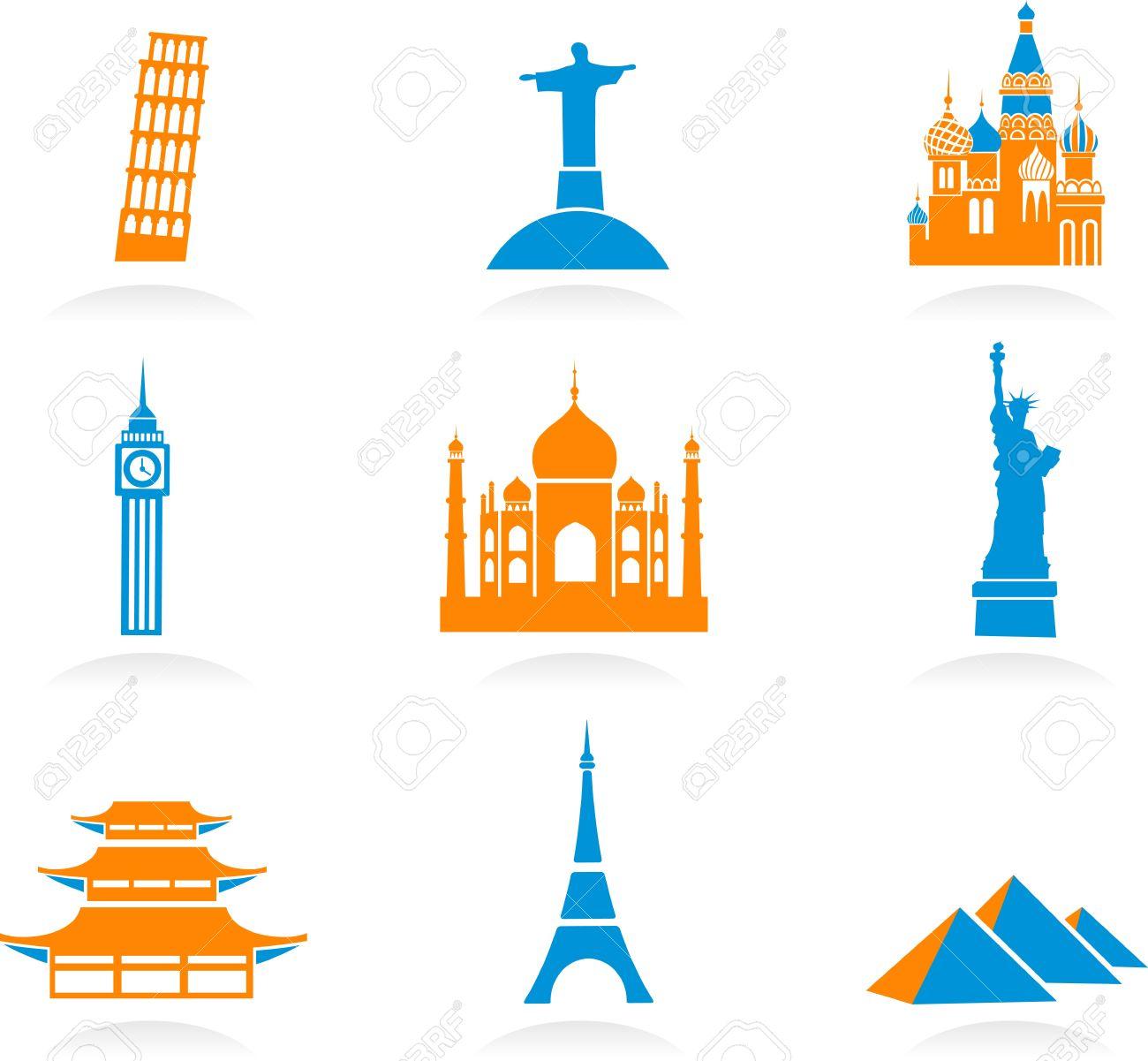 Icon Set With Famous International Historical Landmark Monuments.