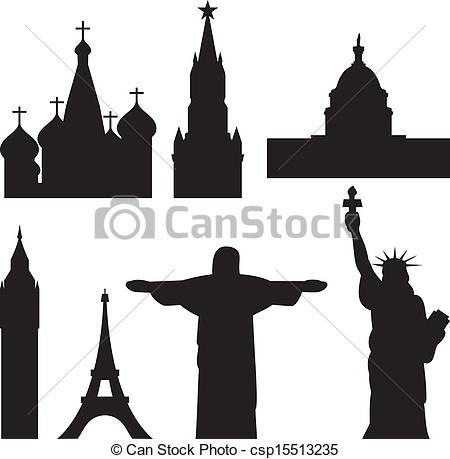 Vectors of international historical monuments.