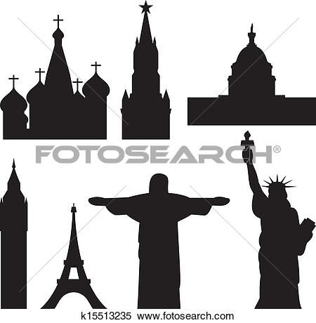 Clipart of international historical monuments k15513235.
