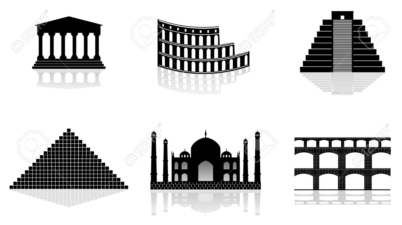 Historical Monuments Vector Illustrations Royalty Free Cliparts.