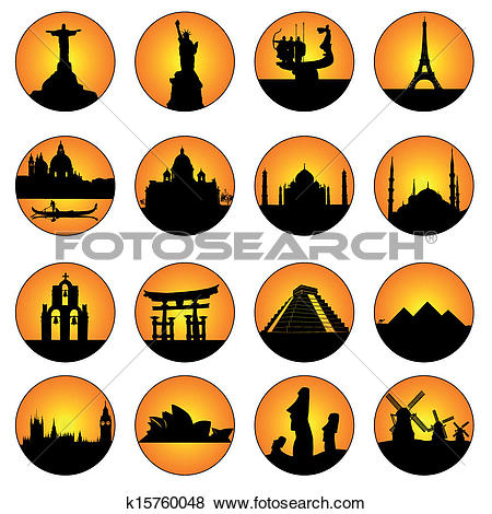 Clip Art of button famous places in the world k15760047.
