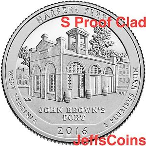 2016 S Harpers Ferry National Historical Park Clad Proof Quarter.
