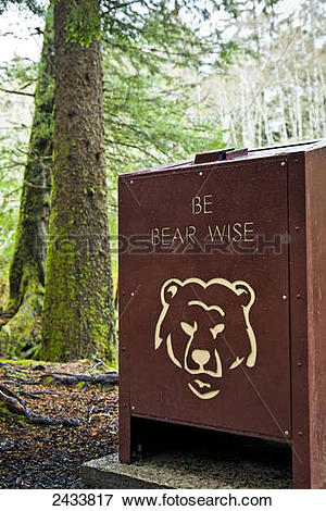 Picture of Bear proof trash can at Totem Trail, Sitka National.