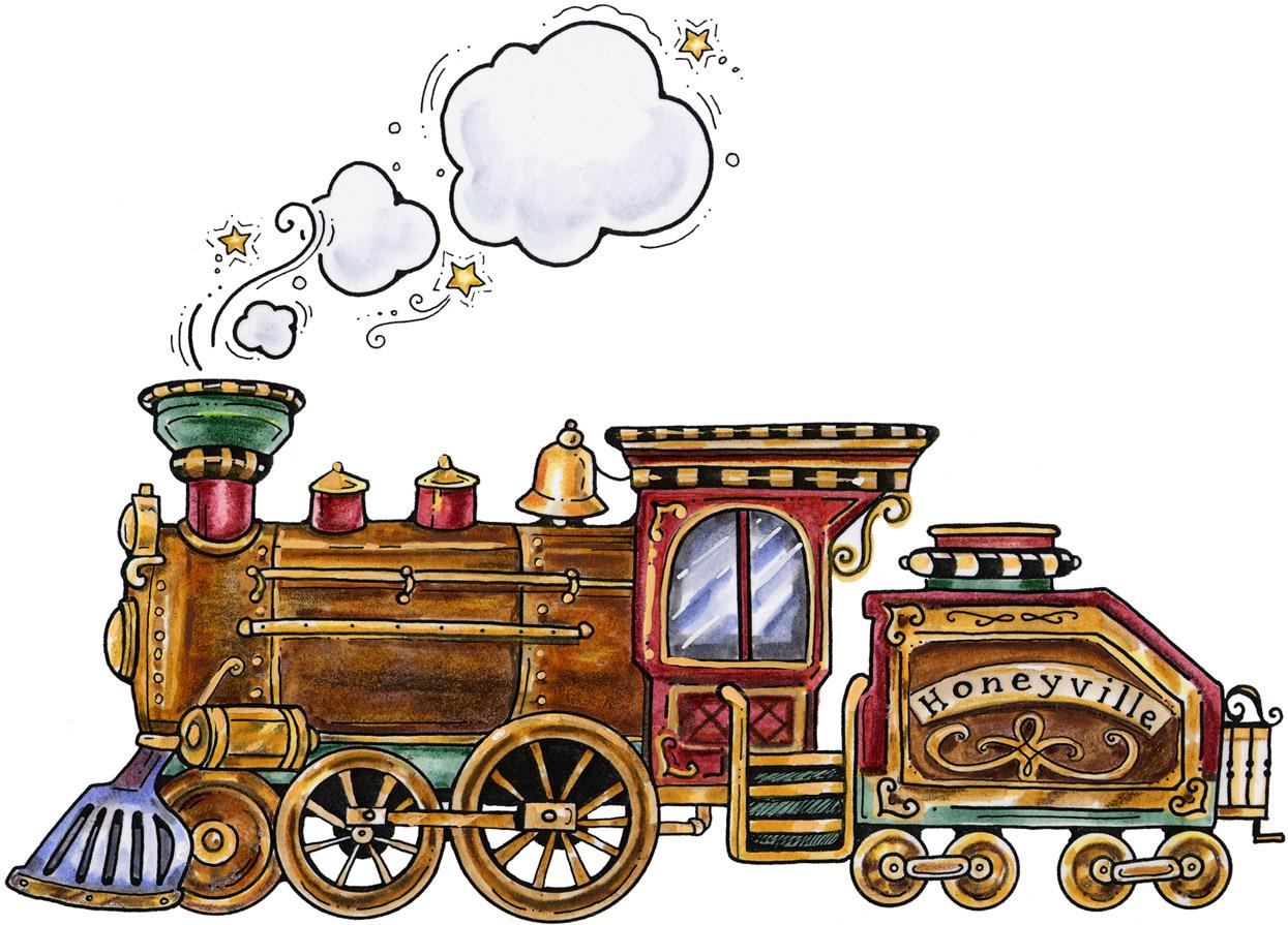 Antique train clipart.