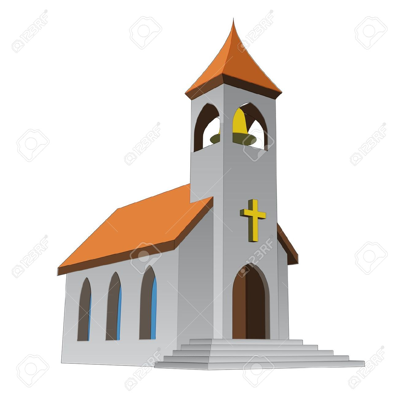 Rural Isolated Church For Catholics With Bell Vector Illustration.