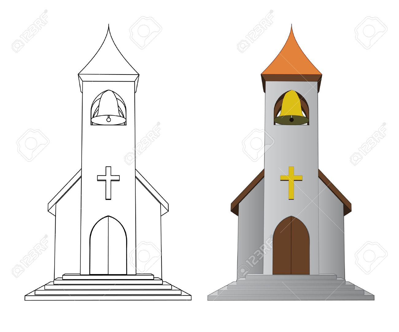 Color In And Line Drawing Church With Bell Vector Illustration.