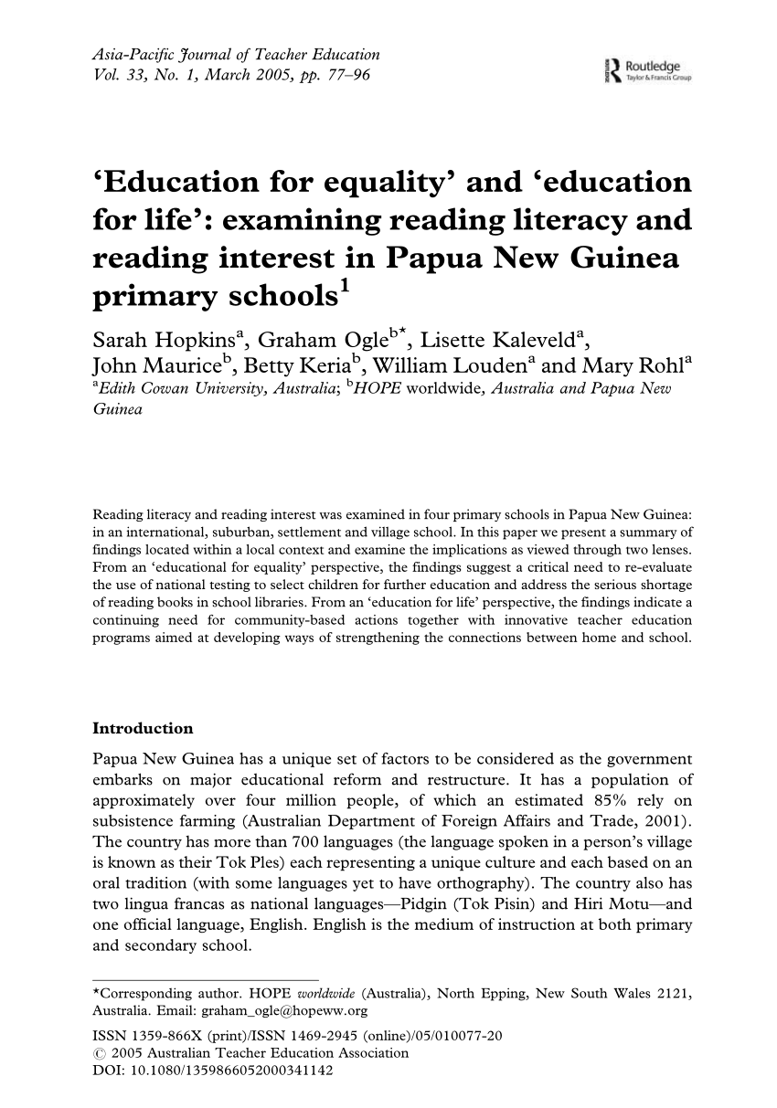 PDF) 'Education for equality' and 'education for life': examining.