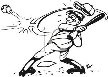 Baseball Hit Clipart Black And White.