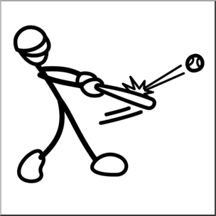Clip Art: Stick Guy Baseball Hit B&W I abcteach.com.
